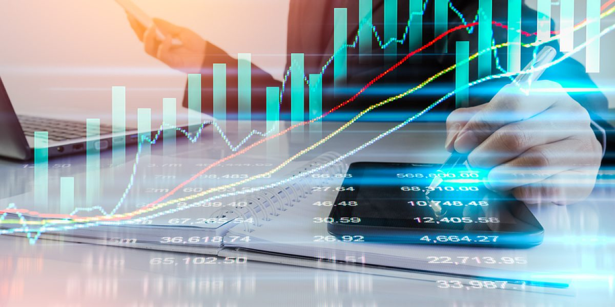 Business man on stock market data or financial analysis. Stock market graph. Stock market indicator. Stock market financial graph. Stock market analysis. Financial statistic analysis, business strategy, business content, business background